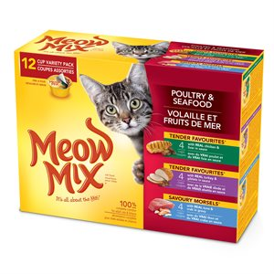Smuckers Meow Mix Tender Favourites Poultry & Seafood Variety Pack 4x12 / 78g