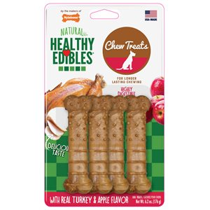 Nylabone Healthy Edibles Turkey & Apple 4 Count Regular