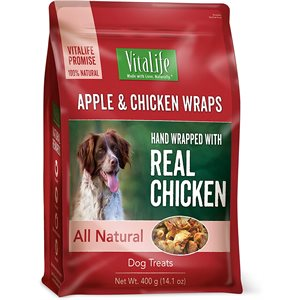 VitaLife Dog Jerky Treats Apple & Chicken Wraps 400g