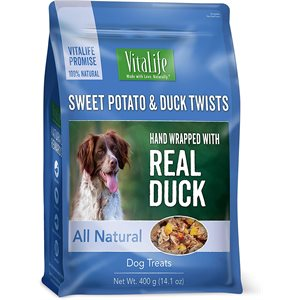 VitaLife Dog Jerky Treats Sweet Potato & Duck Twists 400g