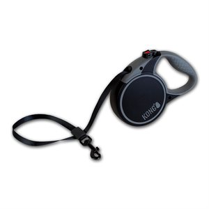 KONG Retractable Tape Leash Terrain Small Black 5m up to 20KG