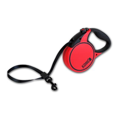 KONG Retractable Tape Leash Terrain Small Red 5m up to 20KG