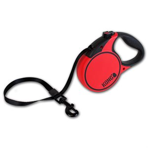 KONG Retractable Tape Leash Terrain Large Red 5m up to 50KG